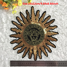 20pcs golden sun clothing sequin patches patchwork applique embroidered fabric patches custom badge for jeans t-shirt bags