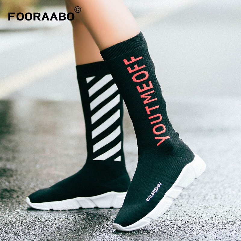 2018 Luxury Brand Socks Boots Women High Mid-Calf Boots Autumn Winter Knitted Shoes Long Thigh High Boots Elastic Slim Size35-40<br>