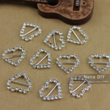 18*15mm (Inner Bar 8mm) 20pcs Heart Rhinestone Buckle Invitation Ribbon Slider bag accessory Silver Color,Free shipping(China)