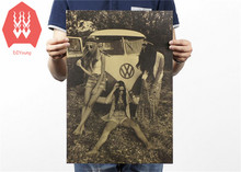 Hippie girl retro hippie VW bus kraft paper poster wall stickers home decor adesivo de parede 51 x 35 cm
