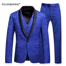 TIAN QIONG Mens Wedding Suit 2017 Man Slim Fit Business Suit Printed 3 Piece Groomsmen Suits Tuxedo Jacket Prom Stage Wear(China)