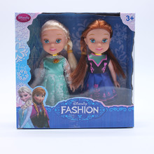 Disney Kid Toys 2pcs/Lot With Box Frozen Princess Anna Elsa Dolls For Girls Toys 16cm Small Plastic Baby Dolls Toys Juguetes