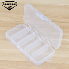 Small 5 Compartment Plastic Fishing Tackle Box for Fishing Lures 13*6*2.5cm Transparent Hooks Spoons Fishing Tool Accessaries