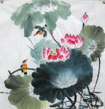 100% hand-painted family decoration, Chinese painting, flower and bird painting, ink painting, lotus painting 26, X 26""