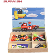 Surwish Educational Wooden Drawing Board Dress up Facial Features Magnetic Puzzle Set Game