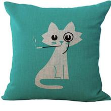 New Hot Lovely Cartoon Cat Printed Cotton Headrest Home Decorative Sofa Chair Seat Backrest Cushion Free Shipping(China)