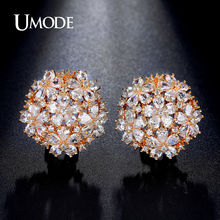 UMODE Latest Pear Cut Cluster Flower Top Quality CZ Gold-color French Clip Stud Earrings for Women Boucle D'oreille UE0188A(China)