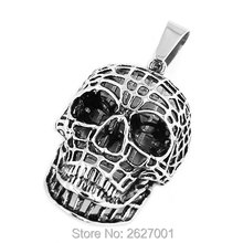 Silver Hollow Out Skull Biker Pendant Stainless Steel Jewelry Spider Web Spiderman Motor Biker Men Pendant Wholesale SWP0402