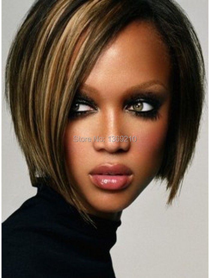 Tyra Banks Sophisticated and Asymmetrical Short Straight Mix Color ( Mult Color )Synthetic Hair Wigs Bob Wigs<br><br>Aliexpress