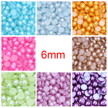 Acrylic Flatback Beads Many Colors 6mm 100 Unids Craft Imitation Pearls Half Pearls Around Resin Grains Scrapbook Decorate DiY