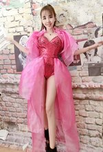 Fashion Stage Wear Women's Red Sequins Bodysuit Pink Skirt Long Style Clothing Set Costume Female Singer Performance Party Dress