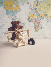 Custom vinyl cloth world map bear toy airplane photography backdrops for newborn kids baby photo studio portrait backgrounds