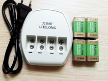 4 PCS 9v 800mAh li-ion lithium Rechargeable 9 Volt Battery + 9v charger Hurry to act(China)