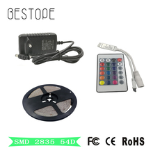 RGB LED Strip 5M 2835 Waterproof MD Flexible Light LED Tape Party Decoration Lamps DC12V 2A Power Adapter + IR Remote Controller