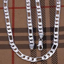 "SALE Promotion gift hot silver Necklace 20 "" Factory Price 6mm fashion mens figaro chain curb silver jewelry"