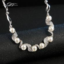 Simulated Pearl Vine Ethic Chain Necklace & Pendants Silver Color Cubic Zirconia Pave Wedding Jewelry For Women DFN256(China)