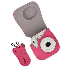 Retro PU Leather Camera Shoulder Bag Protective Case Pouch With Strap for Fuji Fujifilm intax Mini 8 Pink/ Rose Red