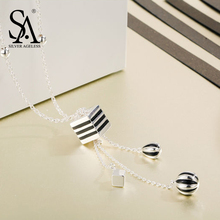 SILVER AGELESS 925 Sterling Silver Long Necklaces & Pendants For Women Fine Jewelry Sweater Chain Stripe Tassels 2017 Design(China)