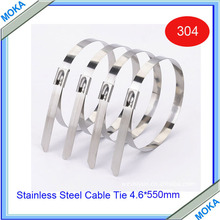 Free Shipping High Quality 100pcs New 4.6X550mm Stainless Steel Cable Ties Marine Boat Strap Exhaust Wrap(China)
