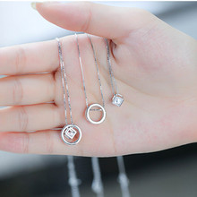 Statement 2017 Fashion Silver Plated Charm Necklace Vintage Jewelry Circle Cube Zircon Pendants & Necklaces for Women Gift(China)