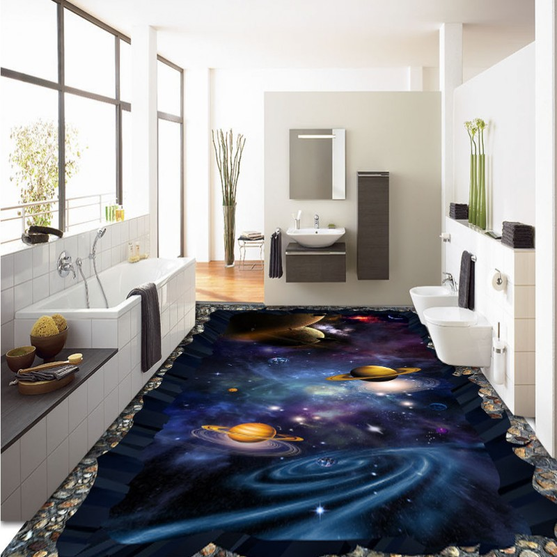 Free Shipping universe 3D sky painting waterproof thickened self-adhesive bathroom living room flooring wallpaper mural<br>