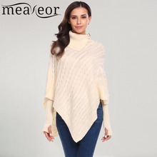 Meaneor Women Winter Sweaters Asymmetrical Turtleneck Knitted Poncho Capes Pullover Sweater with Arm Warmer Sexy Slim New Tops(China)