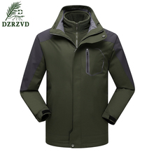 DZRZVD Brand Clothing Outdoor Men Jackets Waterproof Thicken Mountain Jackets Slim Fit Coat 2 Layer Windbreaker Sportswear 145(China)