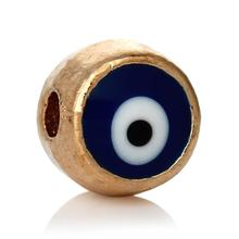 DoreenBeads Spacer Beads Round Enamel Dark blue Light gold color eye of evil Pattern About 6mm Dia,Hole:Approx 1.7mm,30 PCs(China)