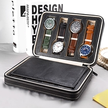 8 Grids PU Leather Watch Box Storage Showing Watches Display Storage Box Case Tray Zippere Travel Jewelry Watch Collector Case