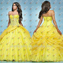 Taffeta Corset Prom Dresses Yellow Quinceanera Gowns Pageant Dress Sweetheart Diamonds Details Floor Length Overlay Ruffles