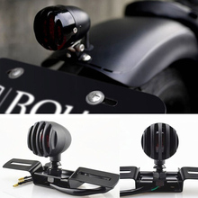 New Arrivals Motorcycle For Harley Red Rear Tail Brake Stop Light Lamp 12V For Harley Chopper Bobber Cafe Racer Custom Black(China)