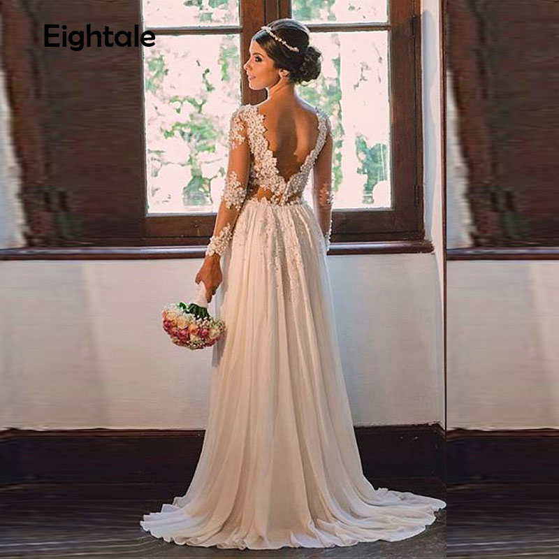 Eightale Ivory Lace Appliques Pearls Beach Wedding Dresses Long Sleeves Backless Boho Bridal Dresses robe de mariage