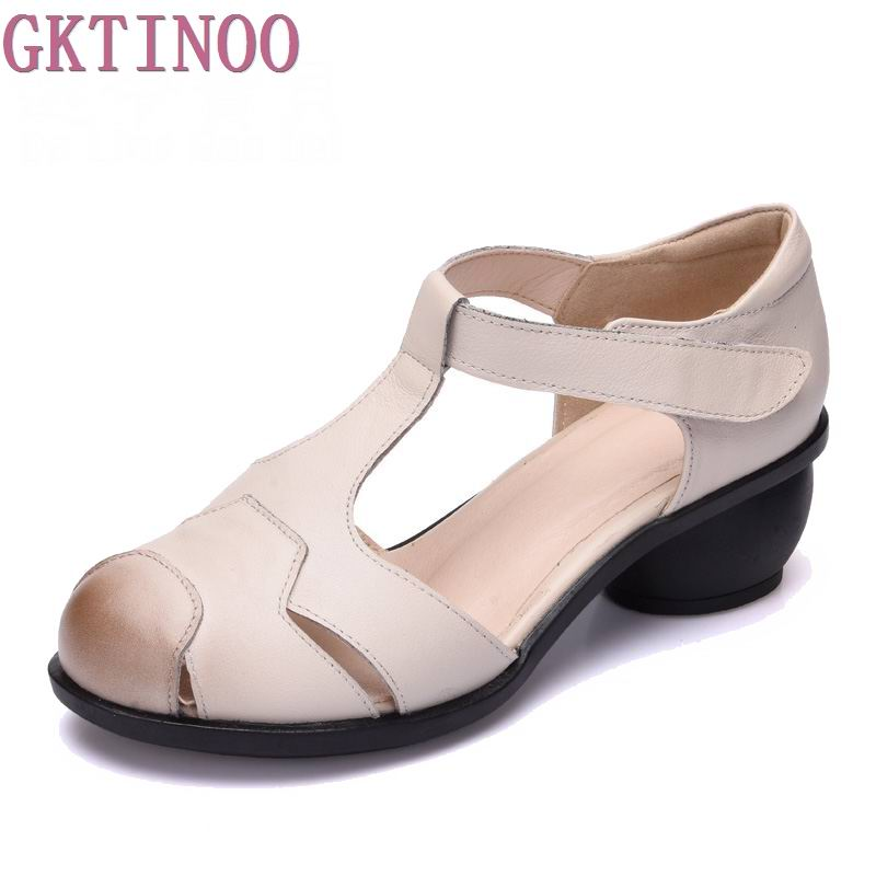 2018 summer sandals female handmade genuine leather women casual comfortable woman shoes sandals women summer shoes T127<br>