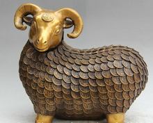 "SCY S0524 14"" Chinese Bronze Gild Folk Wealth Zodiac Year Sheep Goat Statue sculpture(China)"