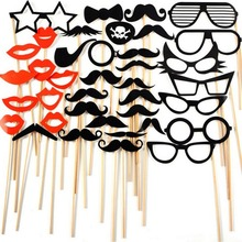 38 PCS/Set Fun Photo Booth Prop Lip Colorful Card On A Stick Wedding Decoration Favor(China)