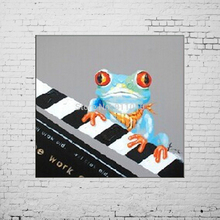 DaFen Piano Frog Animals Handmade Oil Painting Abstract Painting Home Decoration Pictures Mural Canvas Wall Art Paintings(China)