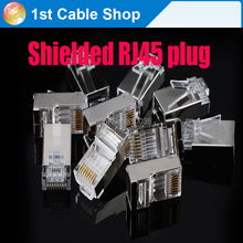 100pcs/lot Shield RJ45 connector adapter 8p8c Network CAT5E CAT Modular Plug Connector(China)