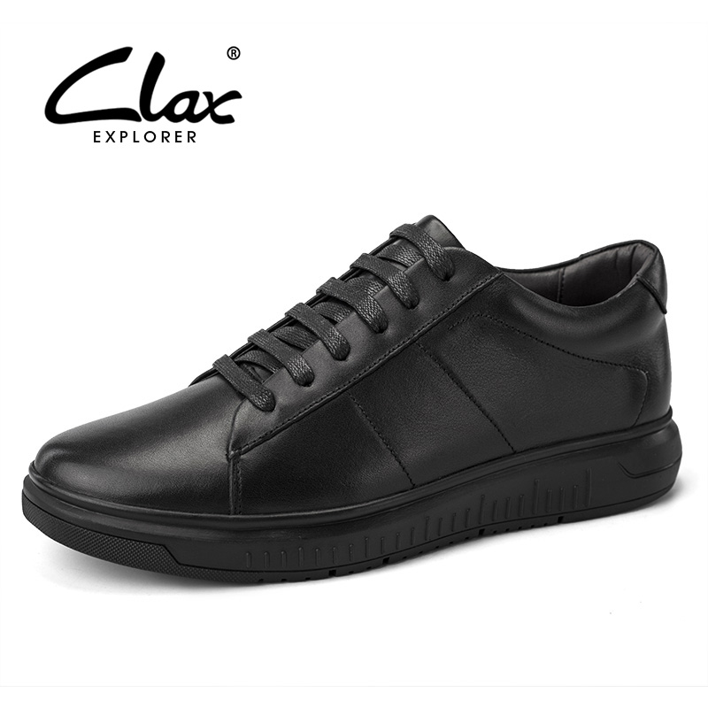 CLAX Men's Casual Shoes 2018 Spring Autumn Leather Footwear Male Fashion Leisure Shoe Height Increasing Black White Walking Shoe
