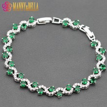 Sterling Silver Hot Selling Green Created Emerald Bracelet Health Fashion  Jewelry For Women Free Jewelry Box SL91