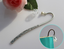 1PC 16MM Glass Globe Bookmark ,Tibetan Bookmarks Metal Bookmarks, Hook BookMark Silver Plated,Christmas Gift