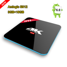 Lastest H96 PRO Android TV Box Amlogic S912 Octa core ARM Cortex-A53 smart tv 3G/16G Dual WiFi BT4.0 H.265 4K HDMI Media Player