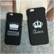 JiBan Couple Cell Phone Shell Crown Protection Phone Case for Iphone 5 5S 6P 6SP 7 7plus 8 8plus X Hard PC Scrub Hard Back Cover(China)
