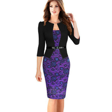 Buy 2018 new fashion European style Women Dress three quarter sleeve false two piece clothing pencil dress belt 709 for $10.59 in AliExpress store