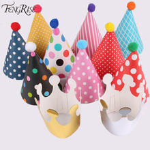 FENGRISE 11pcs Polka Dot Striped Party Hats Kids Birthday Decorations DIY Korean Cute Paper Cap Crown Christmas Supplies