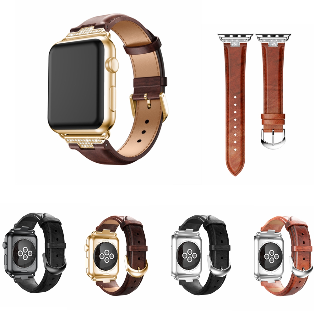 Bling Luxury Genuine Leather Apple Watch 4 Band Watchband Strap For Iwatch Series 1 2 3 4 44Mm/ 40Mm/ 42Mm/ 38Mm Bracelet