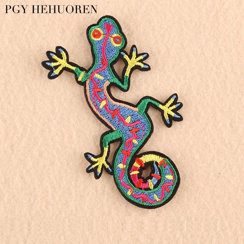 Black Salamander Lizard Embroidered Embroidery Iron Sew On Patch Badge Motif