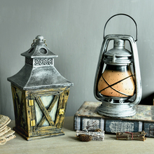 American Rural Style Retro Resin Lantern Money Boxes Industrial wind hurricane lamp Shop Bar Decoration(China)