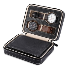 Hot Sale 4 Grids PU Leather Watch Box Jewelry Storage Case Watch Display Box caja reloj Container Jewelry Organizer(China)
