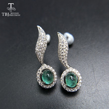 TBJ,two pieces of natural zambia emerald gemstone New elegant earring in 925 sterling silver for ladies as gift jewelry box(China)