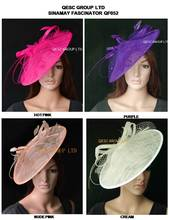 NEW Hot pink,Purple,nude pink,ivory.new color. BIG sinamay hat fascinator for races,wedding,kentucky derby.FREE SHIPPING
